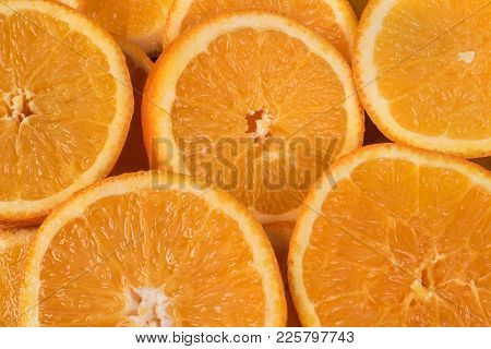 Slices Of Fresh Juicy Orange, Cut Into Circles For Making Fresh Fresh.