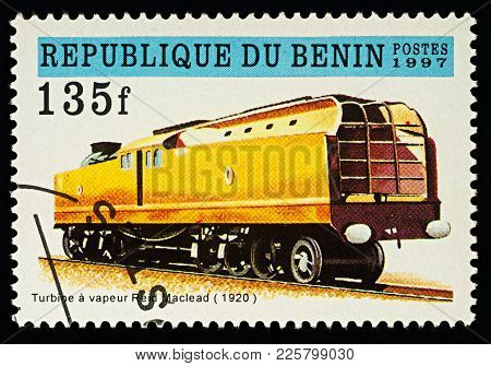 Moscow, Russia - February 09, 2018: A Stamp Printed In Benin, Shows Reid Macleod Steam Turbine Locom