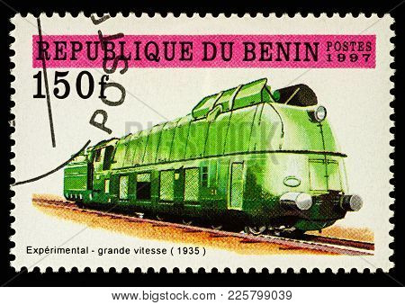 Moscow, Russia - February 09, 2018: A Stamp Printed In Benin, Shows Experimental High Speed Steam Lo
