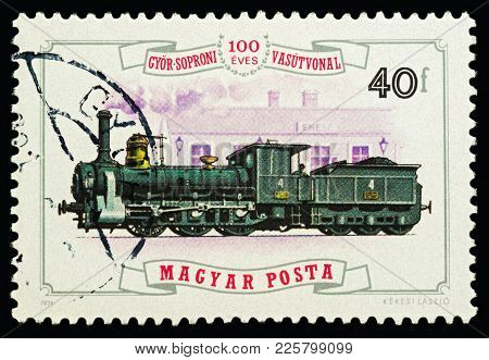 Moscow, Russia - February 08, 2018: A Stamp Printed In Hungary, Shows Old Steam Locomotive (1875), S