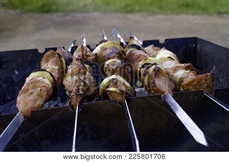 Shish Kebabs On The Grill On Metal Skewers In The Open Air. Picnic Open Air. Shish Kebab Is An Easte