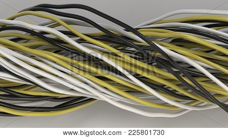 Twisted Black, White And Blue Yellow And Wires On White Surface