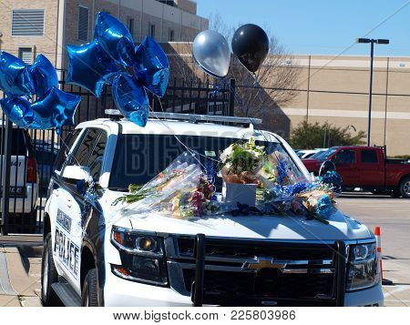 Dallas,usa,february 08,2018. The Memorial Car To Receive Tributes To Richardson, Texas Officer David