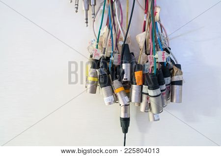 Various Sound Signal Cable Lines Arrange For Input To The Audio Mixer.