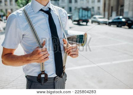 Modern Hipster Business Dress Code. Comfortable Fashion Casual Clothing Style. Relaxed Confident Man