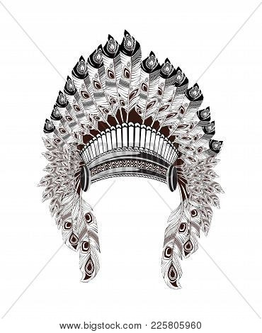 North American Indian Headdress. Vector Illustration. Native American Headdress Of Feathers And Trad
