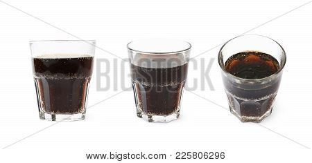 Drinking Glass Isolated Over The White Background , Set Of Several Different Foreshortenings