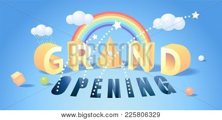 Grand Opening Vector Illustration. Template Banner Or Horizontal Poster With Fun 3d Background For O