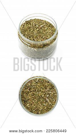 Mate Tea Leaves In A Glass Jar Isolated Over The White Background , Set Of Several Different Foresho