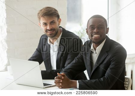 Multiracial Business Professionals Team Portrait, Smiling African And Caucasian Businessmen In Suits
