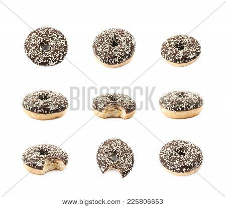 Single Glazed Sweet Donut Isolated Over The White Background, Set Of Several Different Foreshortenin