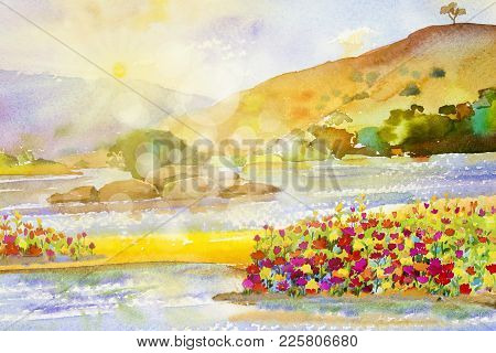 Watercolor Landscape Original Painting Colorful Of Flowers Sun River And Mountain Forest With Sky Cl