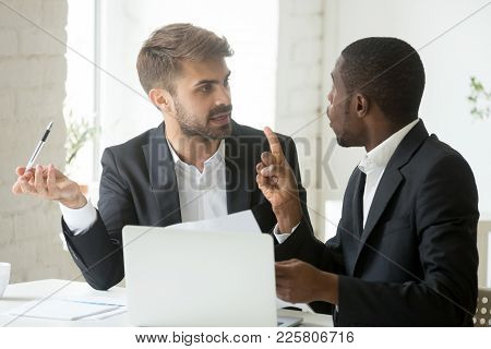 African Black Client Having Claims About Business Document Disagreeing With Caucasian Partner, Stres