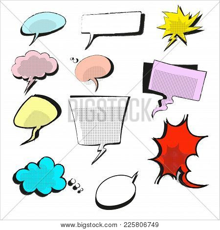 Hand Drawn Of Vector Illustration Speech Bubble Colorful Set. Style Pop Art. Gray, White, Red, Blue,