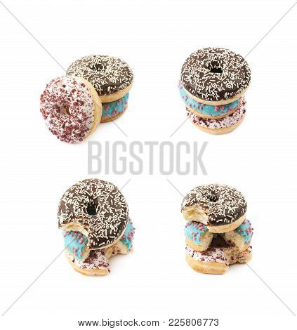 Stack Of Glazed Donuts Isolated Over The White Background, Set Of Several Different Foreshortenings