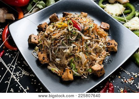 Noodle Fried Tofu And Vegetable Dish Recipe. Meal Food Ingredients And Cooking Process. Vietnamese C