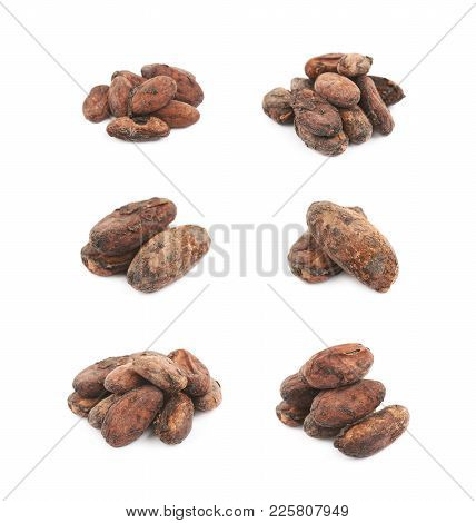 Pile Of Cocoa Beans Isolated Over The White Background, Set Of Several Different Foreshortenings