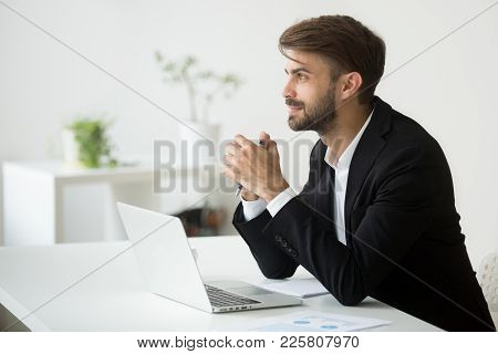 Young Dreamy Businessman In Suit Thinking Of Business Vision Outlook Planning Future Project Idea At