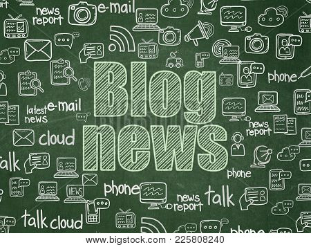 News Concept: Chalk Green Text Blog News On School Board Background With  Hand Drawn News Icons, Sch