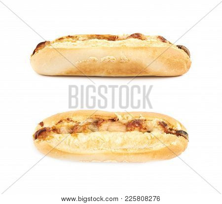Pizza Toppings Pastry Bun Isolated Over The White Background, Set Of Several Different Foreshortenin