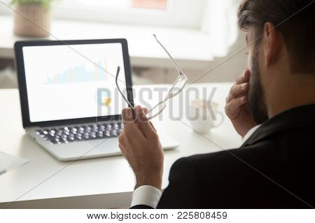 Tired Of Computer Work Businessman Taking Off Glasses Feeling Eyestrain In Front Of Laptop, Employee