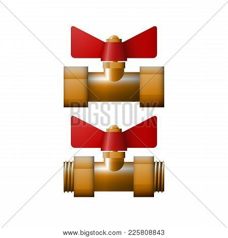 Brass Cut Off Valve, Vector Illustration. The Equipment For Coolant.