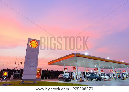 Chachoengsao, Thailand - Jan 28, 2018: Shell Gas Station Blue Sky Background During Sunset. Royal Du