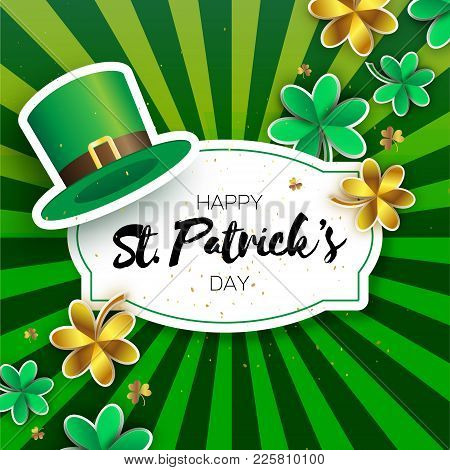 Happy St. Patricks Day Greetings Card With Clover And Hat. Origami Green Shamrock Irish Tradition Ce