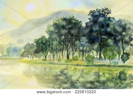 Watercolor Landscape Original Painting Colorful Of Sun In Morning And Mountain,river In Beauty Natur