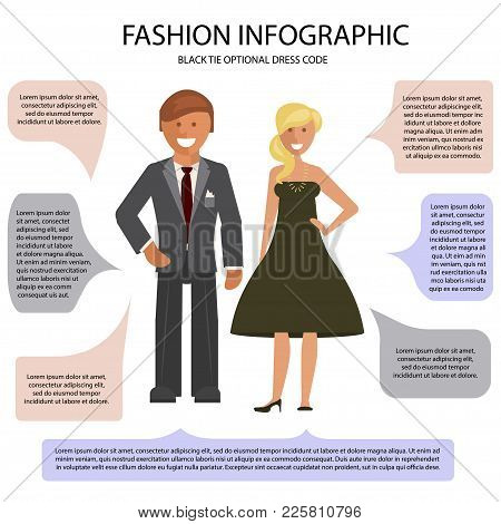 Black Tie Optional Dress Code Infographic. Man And Woman Isolated On White Background With Speech Bu