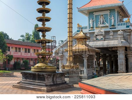 Shri Mahalsa Indian Temple In Ponda, Goa, India. The Opulent Mahalsa Temple Is One Of The Most Famou