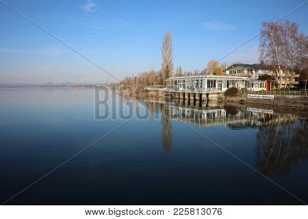 Radolfzell, Germany - February 4, 2018: The Strandcafe Mettnau in Radolfzell at Lake Constance. Mettnau is a famous Heath Care City and the Strandcafe Mettnau is a wonderful place with great Lunch and Dinner or Coffee with Cakes.