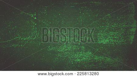 Dark Green Background Of School Blackboard Colored Vignetted Texture. Dark Green Black Shabby Textur