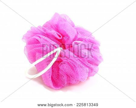Pink Plastic Bath Puff Isolated On White Background