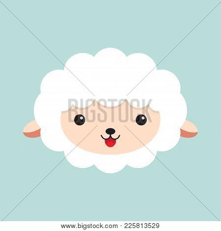 Cute Cartoon Sheep. Head Of A Sheep. Vector Illustration