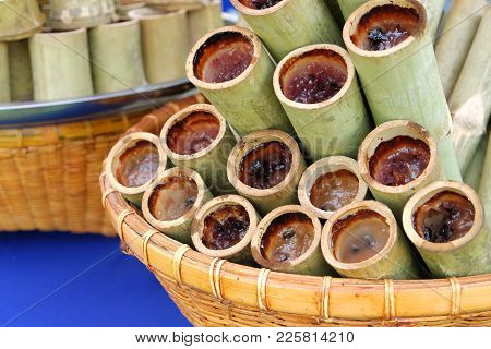 Glutinous Rice Roasted In Bamboo Joints Arranged In Rattan Basket