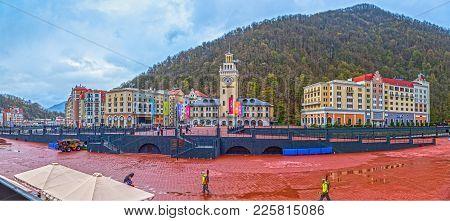 Sochi, Russia - April 20, 2015: Hotels Of Rosa Khutor Resort
