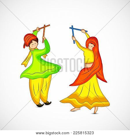 Illustration Of People Playing Hindu Folk Dance Garba On The Occasion Of Hindu Festival Navratri