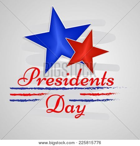 Illustration Of Stars With Presidents Day Text On The Occasion Of Usa Presidents Day