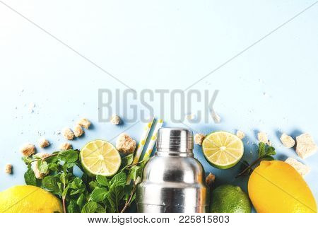 Ingredients For Cocktail Mojito Or Lemonade - Lemon, Lime, Mint, Sugar, With Shaker And Cocktail Str