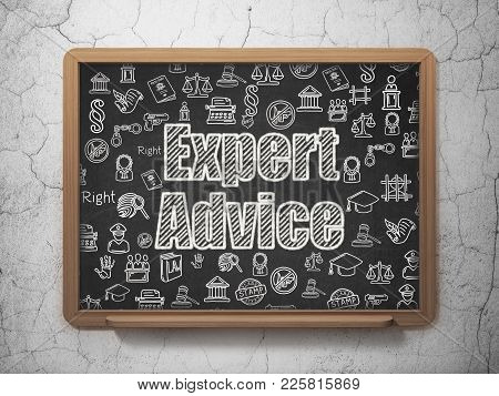 Law Concept: Chalk White Text Expert Advice On School Board Background With  Hand Drawn Law Icons, 3