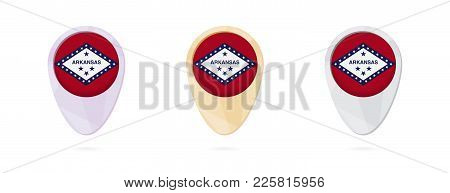 Map Markers With Flag Of Us State Arkansas, 3 Color Versions.
