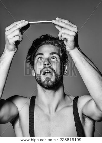 Suprised Handsome Man Fashion Sexy Young Blond Bearded Male Model With Suspenders On Topless Sexi Nu