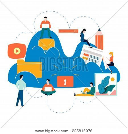 Cloud Computing Services And Technology, Data Storage Flat Vector Illustration. Network Data Storage