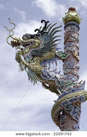 chinese dragon on pole