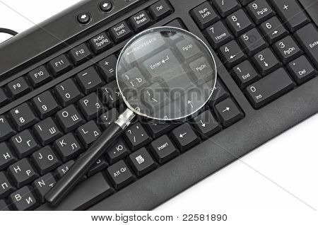 Magnifying glass, concept of on line security