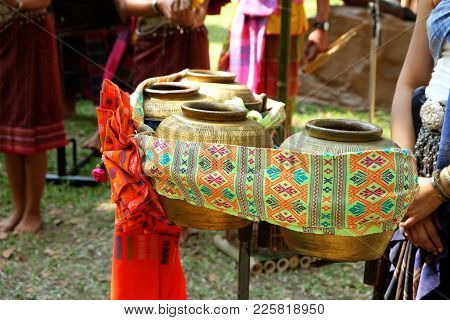 Golden Color Jars Used For Musical Percussion Instruments In Northeast Region In Thailand