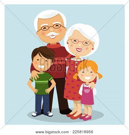 Happy Grandparents With Grandchildren On Blue Background. Vector Illustration