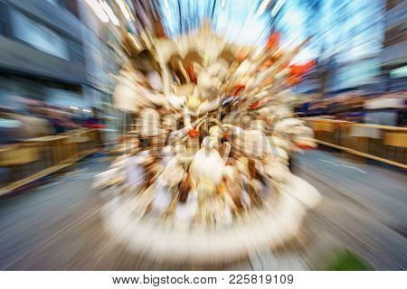 Wide Angle Zoom Abstract View Of Falla In Valencia
