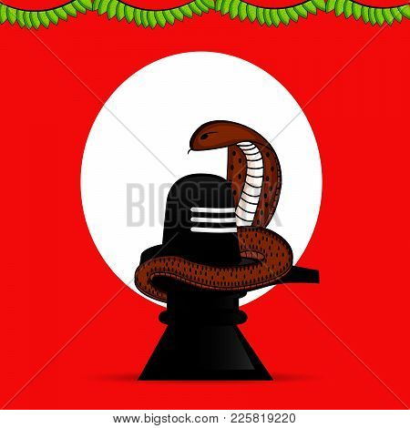 Illustration Of Hindu Symbol Shivling And Snake On The Occasion Of Hindu Festival Shivratri